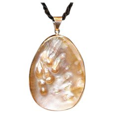 Sterling Mother of Pearl Pendant 4 Inches