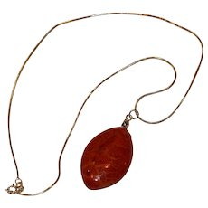 Sterling and Rust Stone Pendant Necklace Italy