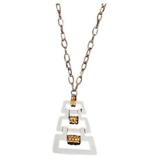 Trifari Retro Chic Gold Tone Necklace with White Enamel Pendant