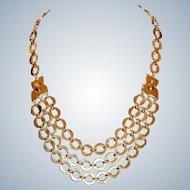 Trifari 3 Strand Goldtone Oval Link Necklace