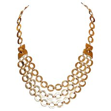 Trifari 3 Strand Goldtone Oval Link Necklace