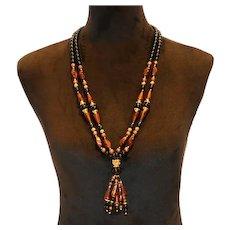 Trifari Multi Bead Necklace 30 inch
