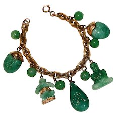 Asian Style Green Glass Gold Tone Charm Bracelet 7.5 inches