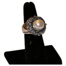 Cultured Pearl & Sterling Ring Size 6