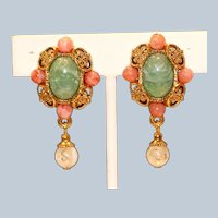 Imitation Jade Imitation Coral Clip Earrings