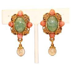Imitation Jade Imitation Coral Clip Earrings
