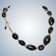 Dayne DuVall Gray Bead & Silvertone Necklace 16 inch
