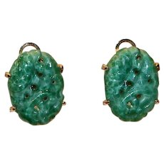 Imitation Jade Asian Motif Clip Earrings Marvella