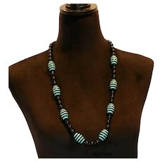 Funky Lucite Beaded Station Necklace 32 inches