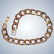 Unisex Gold Tone Curb Link Bracelet 9 inches