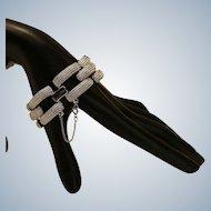 Monet Silvertone Ribbed Link Bracelet 7.25 inches
