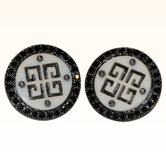 Givenchy Black Crystal & White Clip Earrings 3/4 Inch