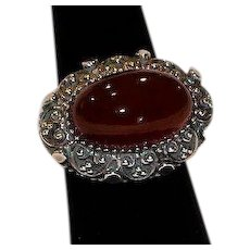 Ornate Carnelian East West Sterling Ring size 7.25