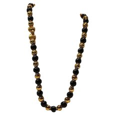Trifari 24 inch Black & Goldtone Bead necklace 1980's