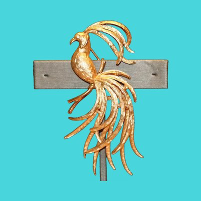 Avon Exotic Bird Pin Brooch 3 inches