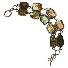 Sterling & Abalone Shell Link Bracelet 8 inch