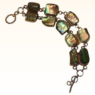 Sterling & Abalone Shell Bracelet 8 inch