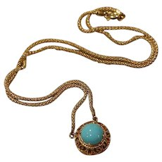 14K Gold Turquoise Pendant Necklace 18.75 inches