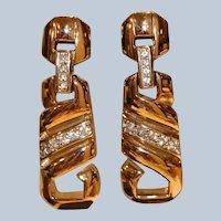 Panetta Gold Tone & Crystal Door Knocker Style Clip Earrings
