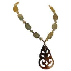 Serpentine & Abalone Pendant Necklace