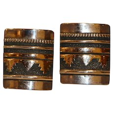 Tommy Singer Navaho Sterling & Gold Overlay Shadowbox Clip Earrings 1 inch