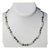 Jade Jadeite & Sterling Link Necklace 16 1/4 inches