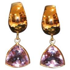 14K Gold & Rose de France Amethyst Pierced Omega Back Earrings