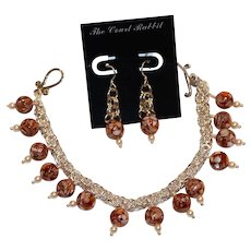 Sterling & Mosiac Glass Pearl Bracelet 8 inch & Earring Set