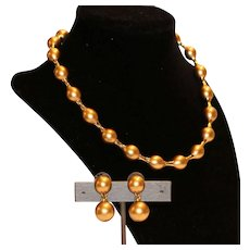Carolee Goldtone Faux Pearl Necklace & Earrings Set