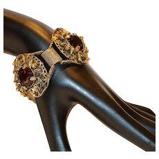Antiqued Gold Tone Purple Glass Stone Bracelet 7.25 inch Circa 1940's