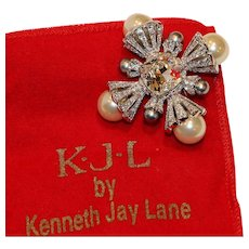 Kenneth Jay Lane KJL Rhinestone Faux Pearl Brooch Pin 2 inch