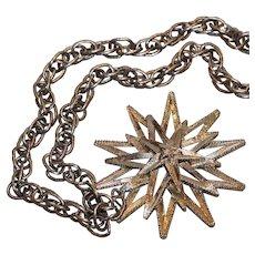 Silver Tone Star Pendant Necklace