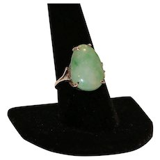 Sterling Ring with Jade Cabochon size 9 1/4