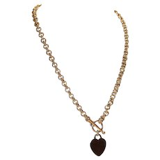 Sterling Rolo Chain Necklace with Toggle Clasp and Heart Charm