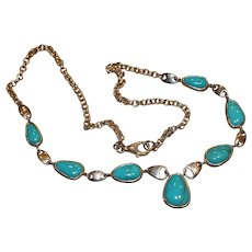 Sterling & Turquoise Pendant Drop Necklace 18 inch