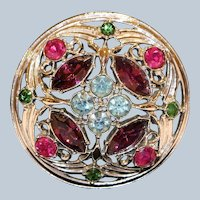 Sarah Coventry Silvertone & Multi-Colored Crystals Pin Brooch 2 inches