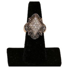 Sterling Marcasite and Crystal Ring Size 7