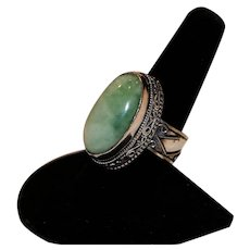 Sterling Bold Filigree & Green Aventurine Ring Size 9