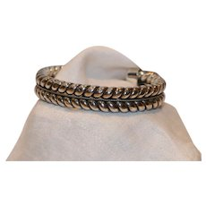 Chunky Woven Design Cuff Bracelet  .925 Silver