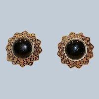 St. John Goldtone Black Enamel w Clear Crystals Clip Earrings 1 Inch