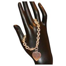 Sterling Heart Charm Link Bracelet