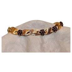 Trifari Birthstone Series Goldtone Bracelet with Garnet-Color Crystals 7.25 inches