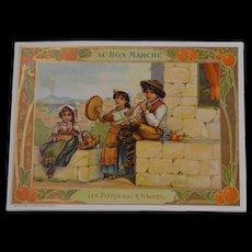 Wonderful original trade card from the bon marche Paris