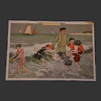 Rare 1910 BON MARCHE trade card with lovely children scene