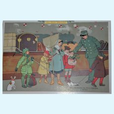 Rare 1910 BON MARCHE trade card with lovely children scene