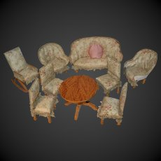 Fabulous parlor set for your big all bisque doll, rare size 1880/1890