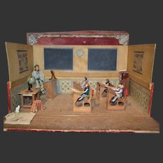 French wonderful schoolroom with all bisque doll