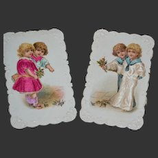 Beautiful Embossed with Silk insert victorian French card