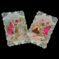 Beautiful Embossed with Silk insert Victorian card