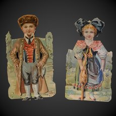 Rare Advertising  couple of French regional Paper Dolls Alsatian